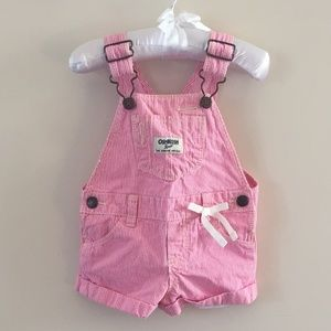OshKosh B'Gosh Pink & White Striped Shortalls